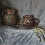 Tuscan Jug and Artichokes; oil on canvas; 50x70cm